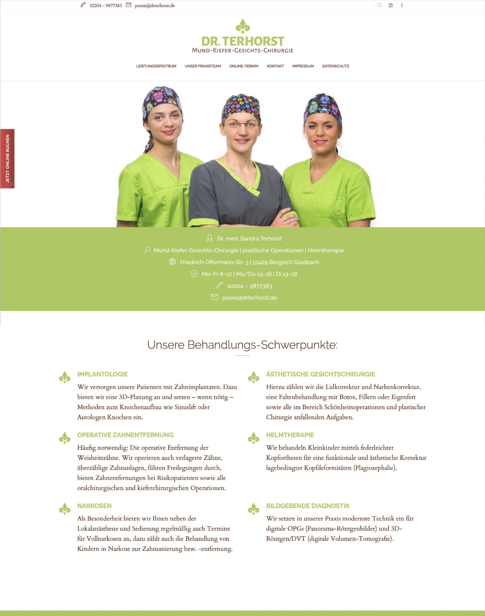 Webdesign für Dr. Terhorst | MKG-Chirurgie, Bergisch Gladbach