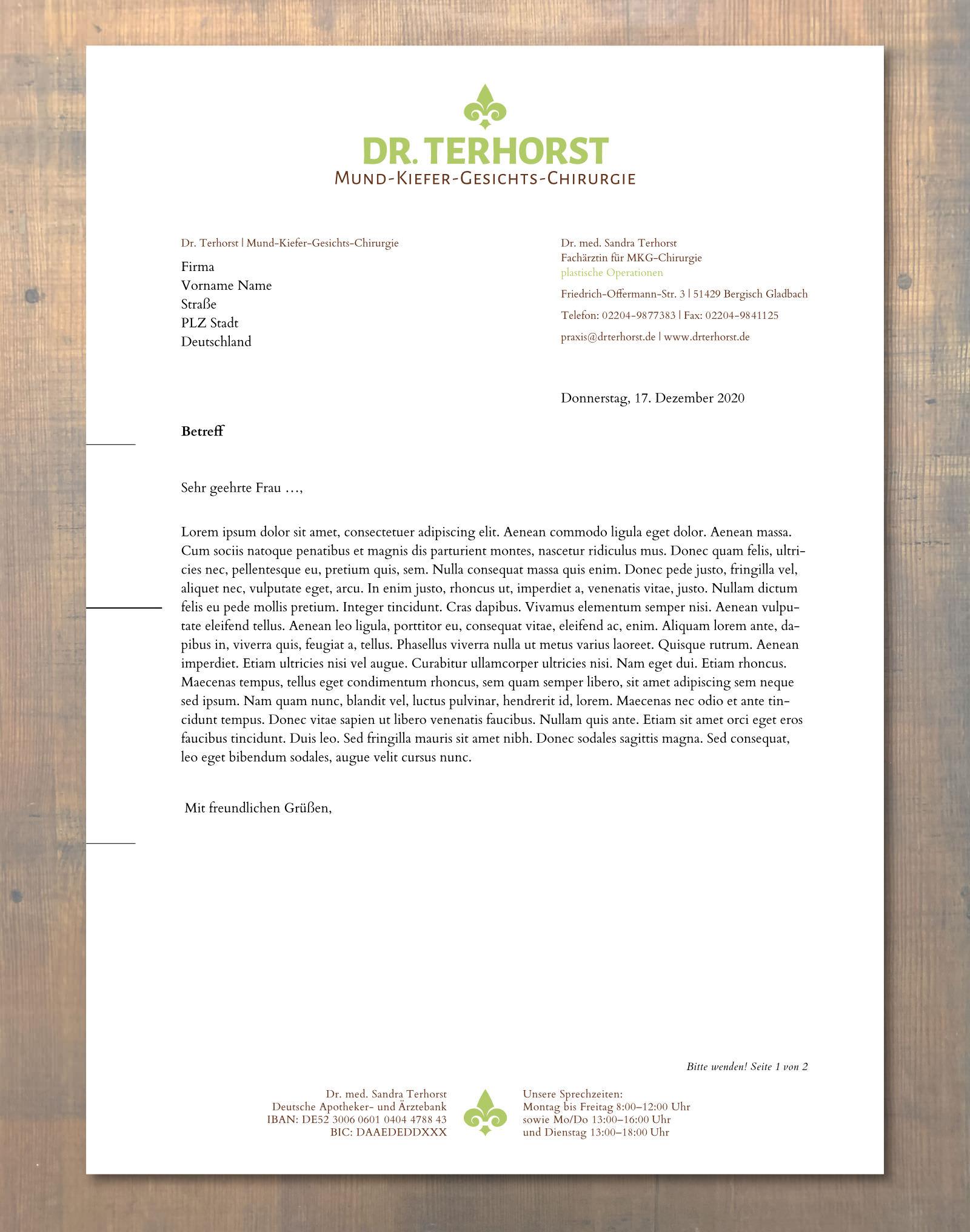 Grafik-Design für Dr. Terhorst | MKG-Chirurgie