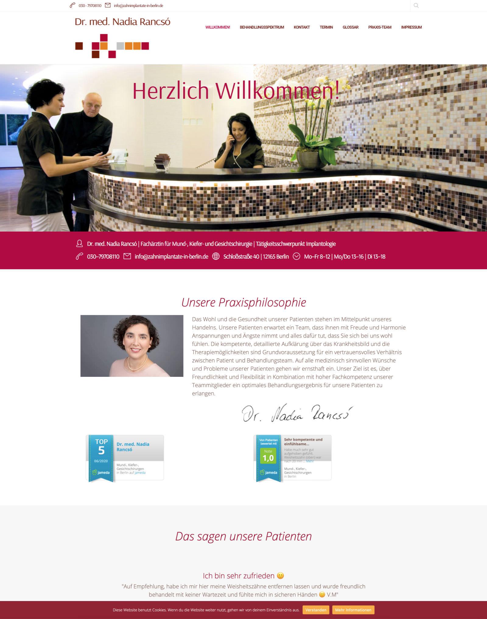 Webdesign für Dr. Rancso | MKG-Praxis, Berlin